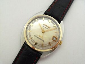 VINTAGE LONGINES ULTRA-CHRON 14K GOLD & SS AUTOMATIC WATCH Ca.1970's.