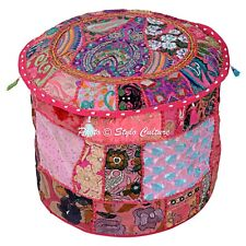 Indian Round Living Room Ottoman Patchwork Embroidered Pouf Cover Bohemian 18""