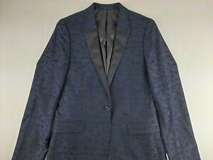 NEW J Ferrar Men 38 L Super Slim Navy Camo Tuxedo Coat Textured Jacket 1 Button