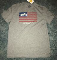NWT Men's Life is Good Motorcycle Crusher T-Shirt. Size Small & Gray.