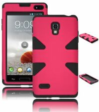 For LG Optimus L9 P769 Pink Hard Case Hybrid / Black Silicone Cover Dynamic