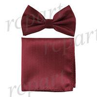 Men's Pre-tied Bow Tie & hankie set herringbone burgundy wedding party prom