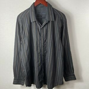 Tommy Bahama Shirt Size XL Button Front Long Sleeve Black 100% Cotton