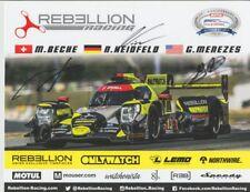 2017 Rebellion Racing Gibson Oreca P2 signed Petit Le Mans IMSA WTSC postcard
