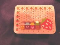 Trinket Box Tin Strawberries Pink & Multi Color NEW in Package