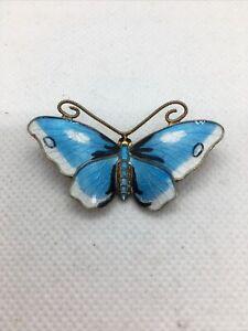 Norwegian Enamel Butterfly Brooch Sterling Silver