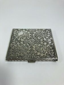 Antique Italian 800 silver engraved chased cigarette case