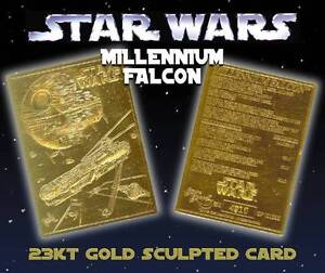 Star Wars MILLENNIUM FALCON 23KT Gold Card Sculptured Limited Edition #/10,000