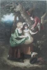 Louis Busiere (French 1880-1960) Mezzotint Children with Bird Nest Pencil Signed