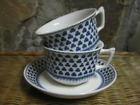 Adams English Brentwood Empress Ironstone Blue White Shamrock 2 Cups & 1 Saucer