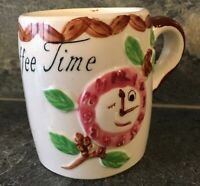 VTG Anthromorphic COFFEE TIME CUP MUG Flower Clock Cigarette MCM KITSCH RETRO