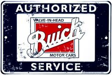 "Buick Authorized Service Cars 12"" x 8"" Metal Sign Garage Embossed Plaque Decor"