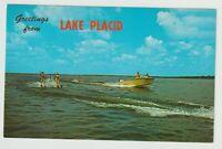 Unused Postcard Greetings from Lake Placid Florida FL Water Skiing