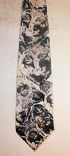 Wolf Mens Silk Tie copyright 1995 Art Design Shades Of Grey Black PJ Bullard