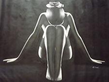Dipinto Donna Nuda Femmina Astratto Bianco Nero su Tela Yoga Originale ad Olio