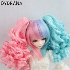 Anime Style BJD Wig For 1/3 1/4 1/6  double gradient ponytail curly hair Miku