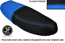 BLACK L BLUE VINYL CUSTOM FITS HONDA C90 CUB SQUARE LIGHT MODEL DUAL SEAT COVER