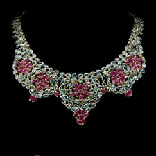 Pear Ruby Only Heated Blue Zircon Gold Plate 925 Sterling Silver Necklace 17inch