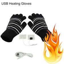 USB Heated Warm Gloves Half Finger Winter Heating Knitting Mittens Black Fine