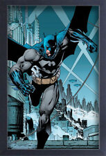BATMAN RUNNING PAST GOTHAM CITY 13x19 FRAMED GELCOAT DC COMICS BRUCE WAYNE GIFT!