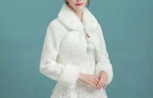 UK Faux Fur Winter Jacket 3/4 Sleeve Wedding Jacket Plush Shawl Bridal Bolero