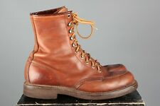Vtg Men's 1970s Red Wings Work Boots sz 8 C 70s Brown Tall Leather Shoes #7598s