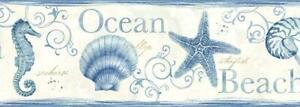 Wallpaper Border Coastal Island Bay Blue Seashells Ocean Beach Seahorse