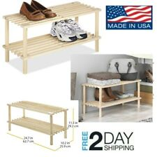 Wooden Shoes Rack 2 Tier Wood Household Shelves Storage Organizer Natural