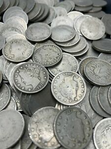 (20) Liberty V Nickels Half Rolls Full Date Coins Liberty Nickels 1883-1913 Old