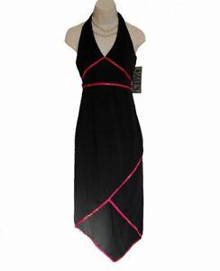 NEW Black Halter Dress JUNIORS Size S Small Asian Triangle Hem Pink Trim NWT