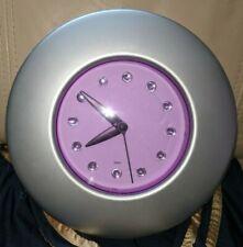 Purple Silver Quartz Clock Round Modern Kids Bedroom Wall/Freestanding