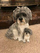 More details for black & grey white shih tzu dog & pup statue figurine slight seconds rrp £39.99