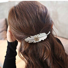 pince cheveux métal, barrette plume 10cm,  avec fleur doré,