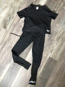 ladies victoria secret pink top & legging set XS XP BLACK gym