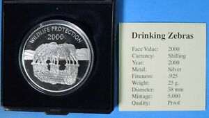 2000 Proof Uganda Wildlife Protection Drinking Zebras 2000 Shillings Silver Coin