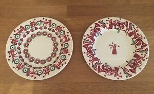 GORGEOUS EMMA BRIDGEWATER CHRISTMAS TOWN / TRUMPETS 6.5 plates x 2 NEW RARE ❤️