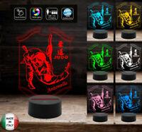 LAMPADA a led 7 colori selezionabili SPORT JUDO personalizzata con nome Idea reg