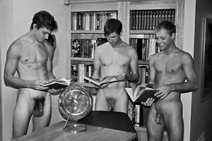 """TERRY HASTINGS """"Library"""" Fine Art Photo Vintage Nude Male Gay 8x12 w12x16 mat"""