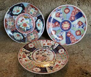 """3 Imari Vintage Japanese Plates, Floral Red/Blue Gold Trim 6.25"""""""