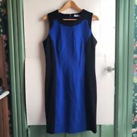 CALVIN KLEIN Royal Blue Black Stripe Colorblock Sleeveless Tank Sheath Dress 8