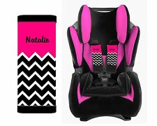 PERSONALIZED BABY TODDLER CAR SEAT STRAP COVERS HOT PINK TOP BLACK CHEVRON