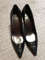 EUC Stuart Weitzman Black Snakeskin Pump Heel-Size 7 1/2