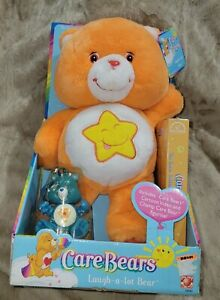 "Play Along Care Bear 13"" LAUGH-A-LOT BEAR w/ VHS — Orange NWT NIB 2003 *RETIRED*"