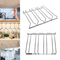 4 Row Stemware Glass Under Cabinet Shelf Wine Storage Rack Holder Hanger UK