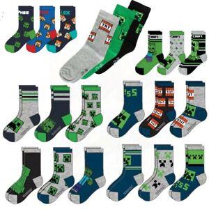 3 pairs Boys Kids Children Child Minecraft Cotton Socks Size UK 6-5.5  EU 23-38