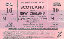 Scotland v New Zealand 9 Dec 1978 complete RUGBY TICKET - Grand Slam All Blacks