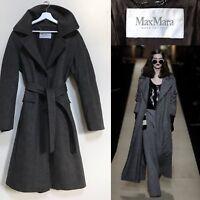 Max Mara Coat Classic Grey Virgin Wool Herringbone Wrap Coat Size M L UK 14 16