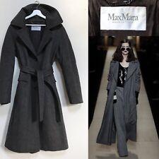 Max Mara Cappotto Classico Grigio Lana Vergine Herringbone Wrap Cappotto  Taglia M L UK 14 16 50db9fd290c