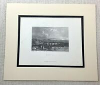 1872 Antique Engraving Builth Wells Wales Brecknockshire Powys Welsh Landscape