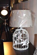 Grande 45 cm Farfalle Rose BIRDCAGE base in metallo e tonalità Lampada da Tavolo Uccelli